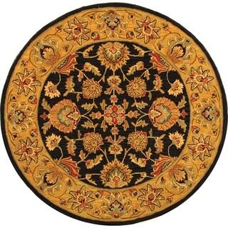 Safavieh Handmade Heritage Traditional Kerman Charcoal/ Gold Wool Rug (8' Round)