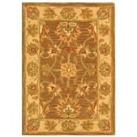 Safavieh Handmade Heritage Traditional Kerman Brown/ Ivory Wool Rug - 2' x 3'