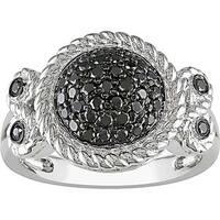 Miadora Sterling Silver 1/2Ct TDW Bezel-set Black Diamond Ring
