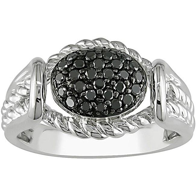 M by Miadora Sterling Silver 1/3ct TDW Black Diamond Ring