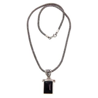 Handmade Sterling Silver Onyx 'Dream Guide' Necklace (Indonesia)