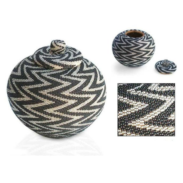 Handmade 'Night Thunder' Beaded Rattan Basket (Indonesia)