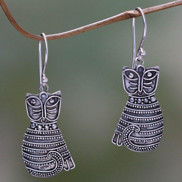 Sterling Silver 'Balinese Cat' Earrings (Indonesia)