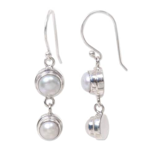 Handmade Two Full Moons of White Freshwater Pearls Set in Sterling Silver Suitable for Bridal Long Dangle Earrings (Indonesia)