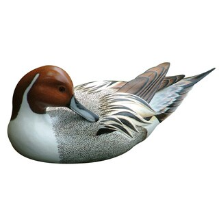 Handmade Posing Pintail Duck Wooden Statuette (Indonesia)