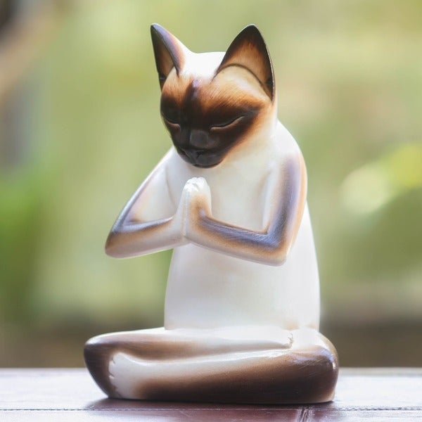 Kitty Meditates Handmade Cat Kitten Prayer Zen Buddhist White Black Feline Home Decor Desk Gift Wood Statuette (Indonesia)
