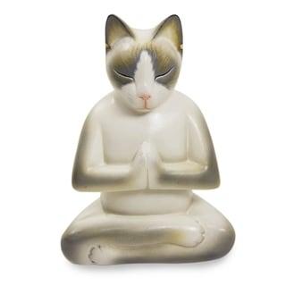 Cat In Meditation Handmade Kitten Kitty Prayer Zen Buddhist White Gray Feline Home Decor Desk Gift Wood Statuette