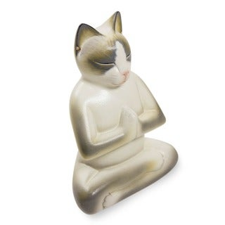 Cat In Meditation Handmade Kitten Kitty Prayer Zen Buddhist White Gray Feline Home Decor Desk Gift Wood Statuette (Indonesia)