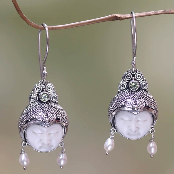 Day Dreamers Mythological Hand Carved Bone, Periodot, Pearls and 925 Sterling Silver Dangle Earrings (Indonesia)