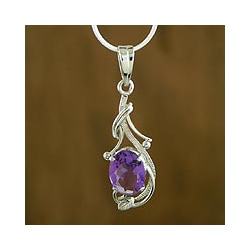 Sterling Silver Amethyst 'Perfect Plum' Necklace (India)