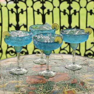 Handmade Margarita 'Aqua Freeze' Set of 4 Glasses (Mexico)