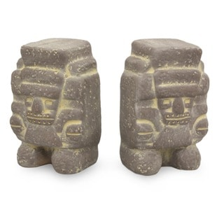 Tlaloc Mesoamerican Artisan Signed Archeological Ceramic Rain God Figurines Set of 2 Global Decor Accent Sculptures (Mexico)