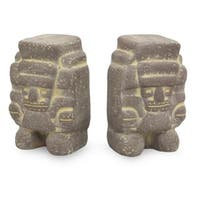 Tlaloc Mesoamerican Artisan Signed Archeological Ceramic Rain God Figurines Set of 2 Global Decor Ac