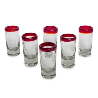 Ruby Clear with Red Rim Set of Six Barware or Casual Entertaining Collectible Handblown Shot Glasses (Mexico)