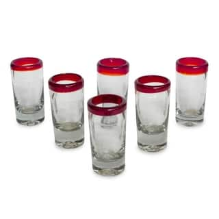 Ruby Clear with Red Rim Set of Six Barware or Casual Entertaining Collectible Handblown Shot Glasses (Mexico)|https://ak1.ostkcdn.com/images/products/3778386/P11841043.jpg?impolicy=medium
