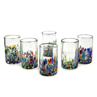 Set of 6 Hand Blown Glasses Confetti Multicolor Tumblers (Mexico)