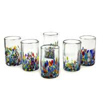 Set of 6 Handmade Glasses Confetti Multicolor Tumblers (Mexico)