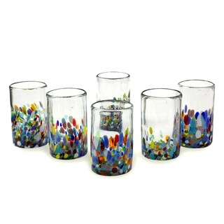Set of 6 Handmade Glasses Confetti Multicolor Tumblers (Mexico)