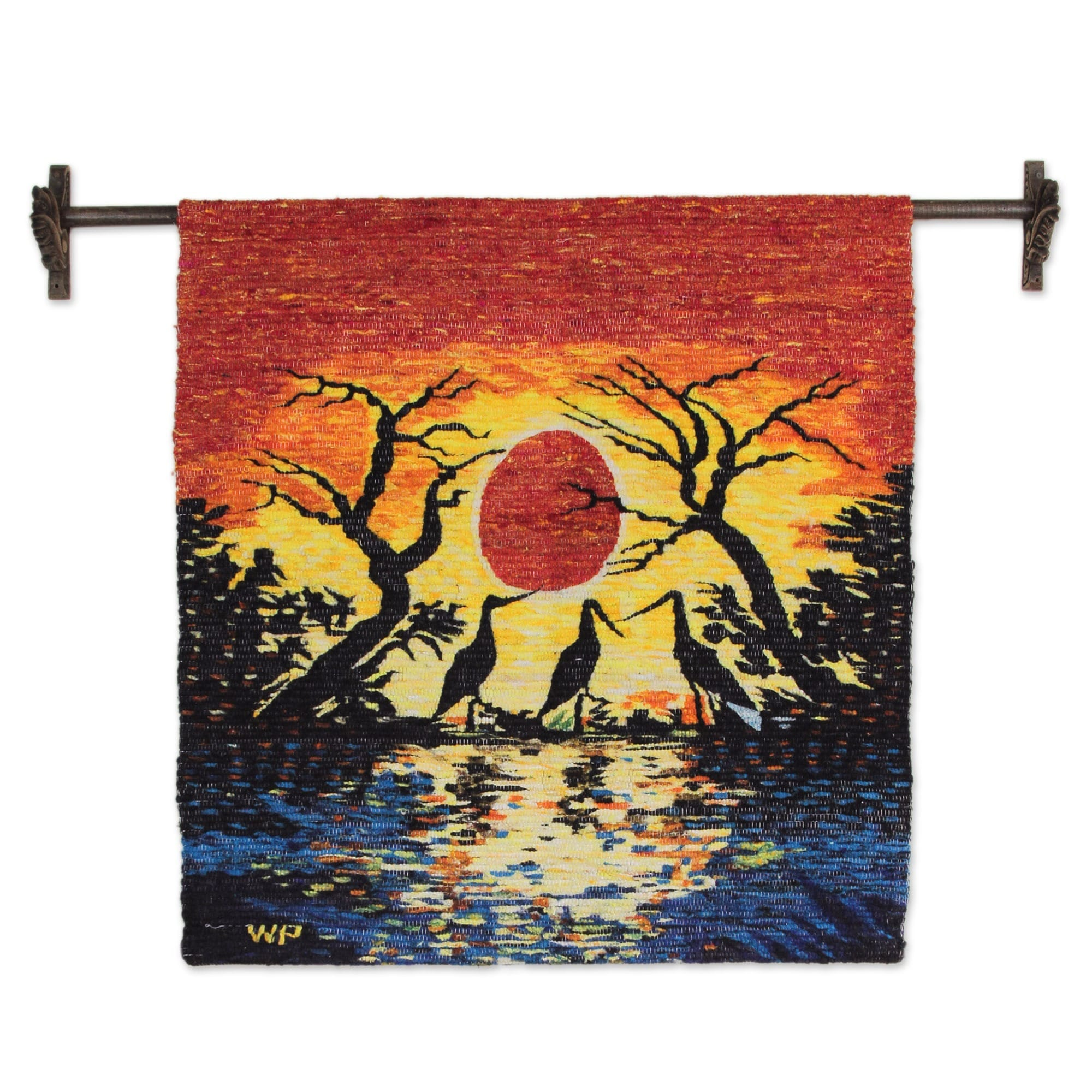 NOVICA 14392 Sunset in Manu Wool Tapestry
