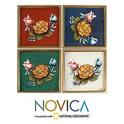 Handmade Set of 4 Painted Glass 'Roses' Coasters (Peru)