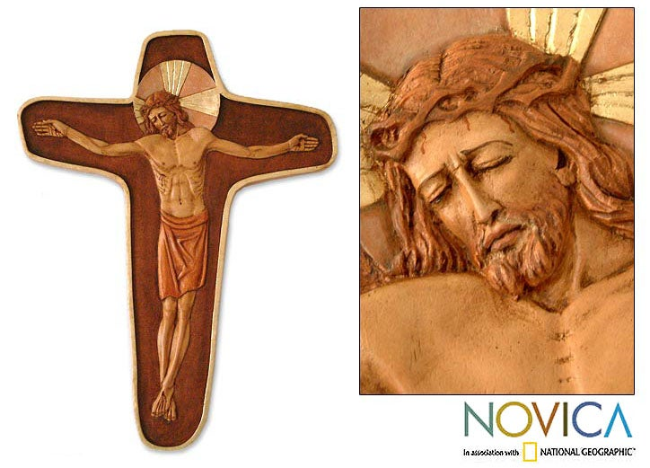 Cedar 'Byzantine Crucifix' Relief Panel (Peru)