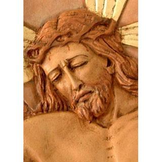 Cedar Byzantine Crucifix Relief Panel