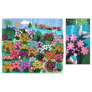 World Of Nature Handmade Cotton Red Pink Purple Blue White Green Yellow Flowers Birds Sun Applique Decor Wall Hanging (Peru)