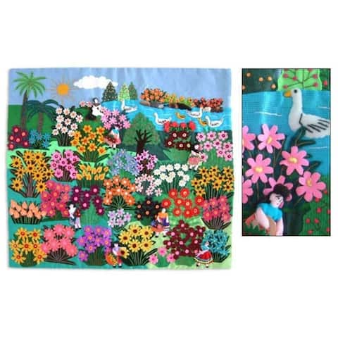 World Of Nature Cotton Multicolor Flowers Birds Sun Applique Wall Hanging