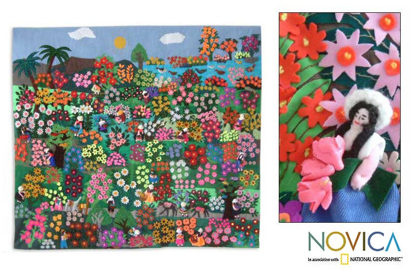 Handmade Applique 'Botanical Garden' Wall Hanging (Peru)
