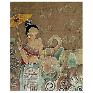 Handmade Batik 'Grace and Power' Wall Hanging (Thailand)