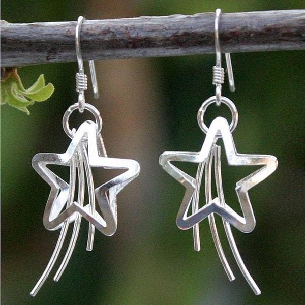 Handmade Sterling Silver 'Shooting Stars' Earrings (Thailand)