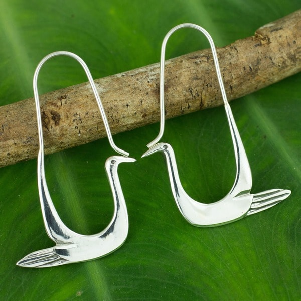 Doves of 925 Sterling Silver Hover on Long Wires Handmade Endless Hoop Look Bird Theme Womens Modern Dangle Earrings (Thailand)