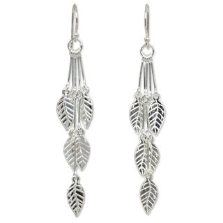 Handmade Sterling Silver Leaf Chimes Dangling Leaf Style Earrings (Thailand)