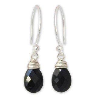 Handmade Black Spinel 'Glowing Exotic' Earrings (Thailand)