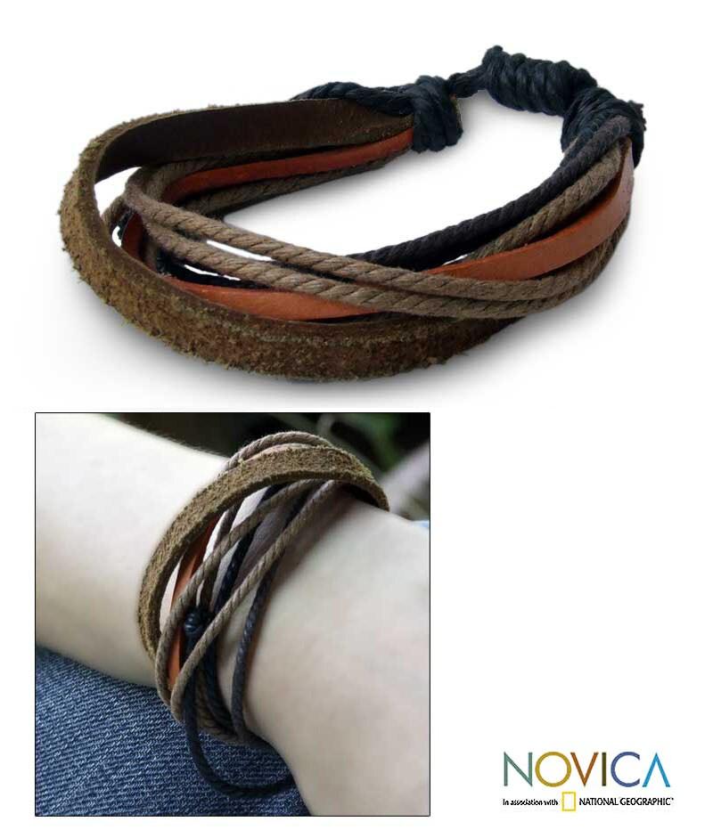 Leather 'Orange Brown Riddles' Bracelet (Thailand)
