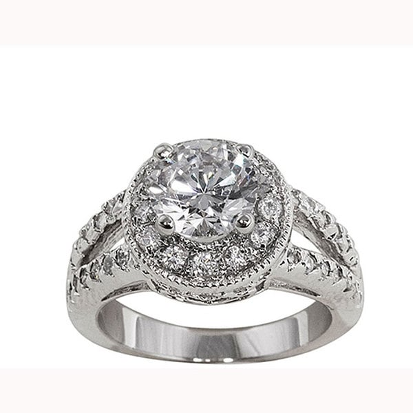 Nexte Jewelry White Goldplated Cz Royal Bridal-Style Ring
