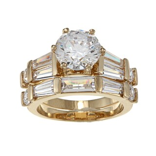 Nexte Jewelry Yellow Goldplated Cz Pinnacle Bridal-Style Rings Set (5 options available)