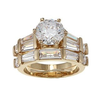Nexte Jewelry Yellow Goldplated Cz Pinnacle Bridal-Style Rings Set
