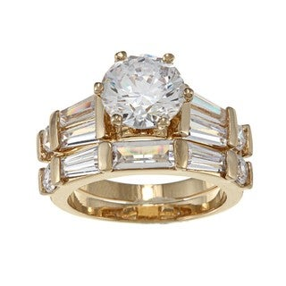 NEXTE Jewelry 14k Yellow Goldplated CZ Pinnacle Bridal-style Rings Set