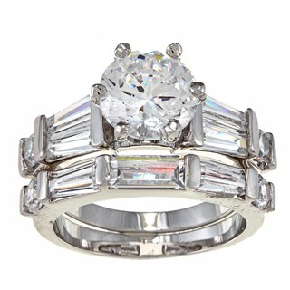 Nexte Jewelry White Goldplated Cz Pinnacle Bridal-Style Rings Set