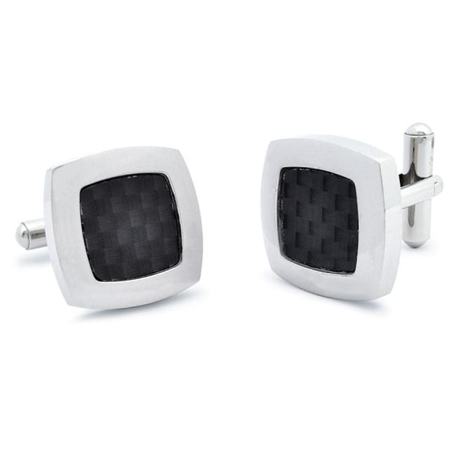 West Coast Jewelry Stainless Steel Black Carbon Fiber Inlay Cuff Links