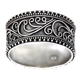 Classic Passion Handmade Artisan Designer Vintage Balinese Clothing Accessory Floral Sterling Silver Jewelry Ring (Indonesia)