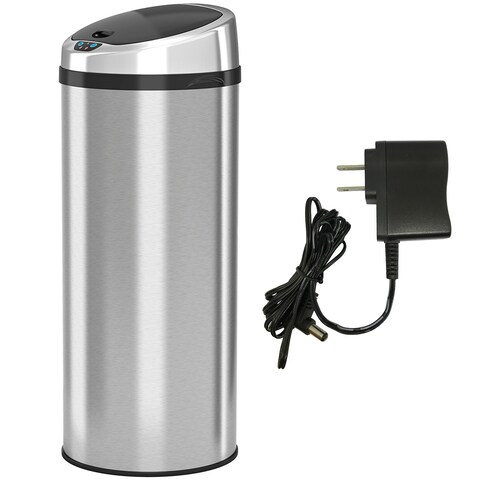 iTouchless 13 Gallon Automatic Stainless Steel Touchless Trash Can NX with AC Adaptor