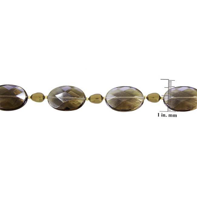 Glitzy Rocks 18k Gold over Silver Smokey Quartz and Faux Pearl Bracelet