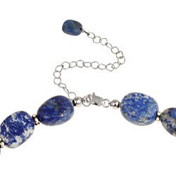 Glitzy Rocks Sterling Silver Lapis Nugget Necklace - Thumbnail 1