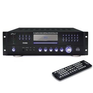Pyle PD3000A 4 Channel Home Audio Power Amplifier - 3000 Watt Stereo Receiver w/ Speaker Selector, AM FM Radio, USB, Headphone