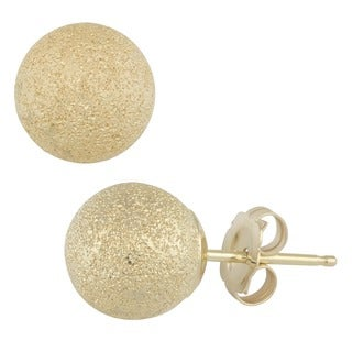 Fremada 14k Yellow Gold 6 mm Laser-cut Ball Earrings