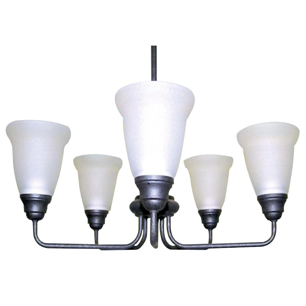 Forged Iron 5-light Satin Glass Chandelier