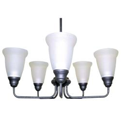 Forged Iron 5-light Satin Glass Chandelier - Thumbnail 1