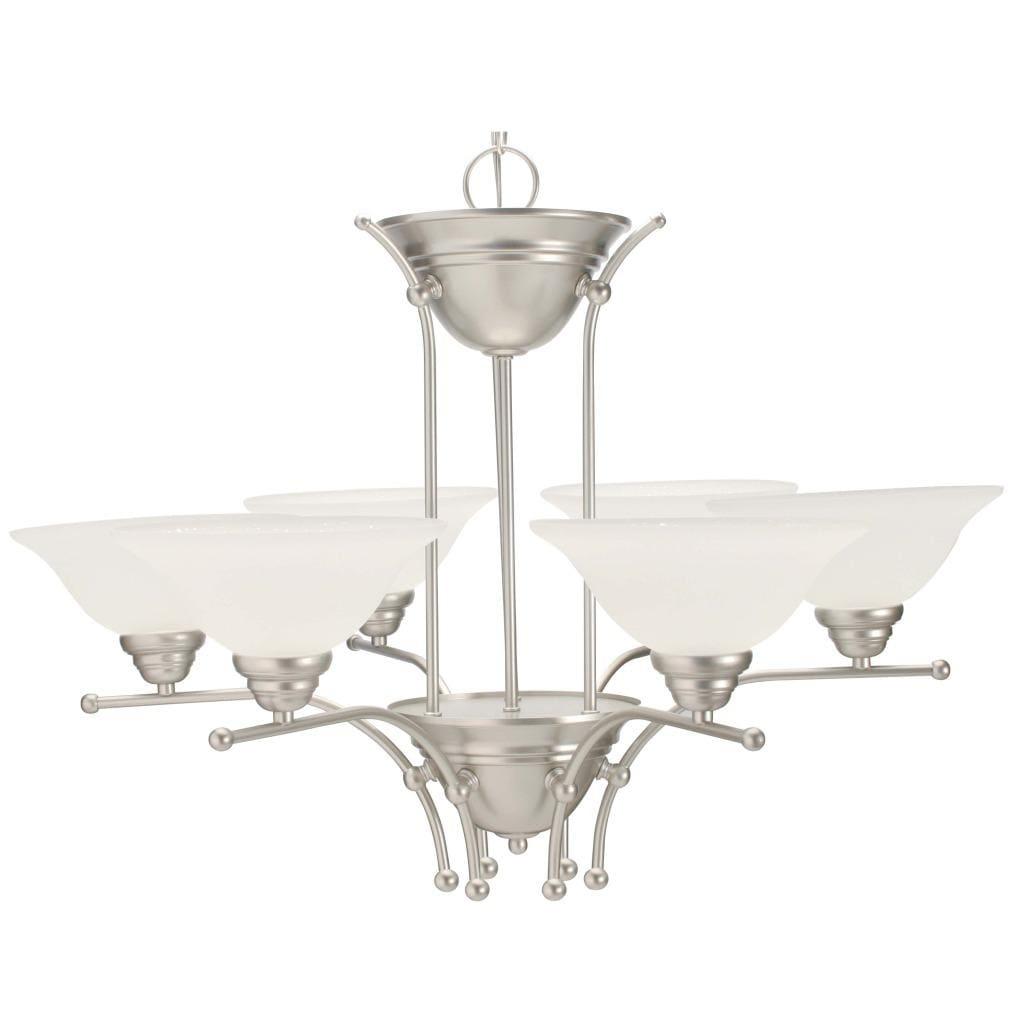 Silver Mist 6-light Alabaster Glass Chandelier